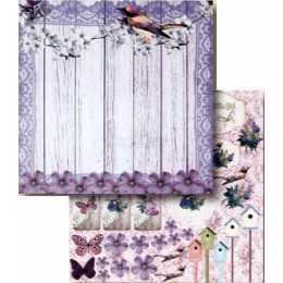 Folha para Scrapbook Dupla Face - LSCD392 - Passarinhos e Flores Roxas - Memories