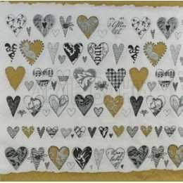 Corações Nas Cores Preto, Dourado e Cinza no Fundo Branco (952)