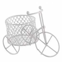 Triciclo de Metal Branco com Cesto Redondo