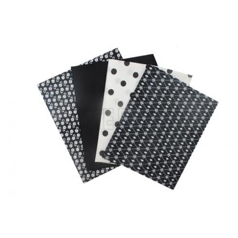 Tecido - Kit 44  - Preto e Branco - Lis/Bolinhas/Preto/Flores (4 unid)