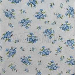 Pequenos Arranjos de Flores Azuis no Fundo Branco (027)
