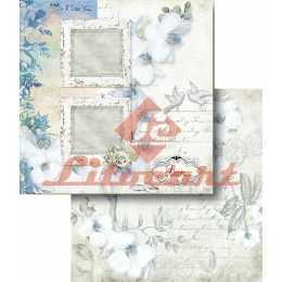 Folha para Scrapbook Dupla Face - LSCD425 - Flores Brancas e Molduras