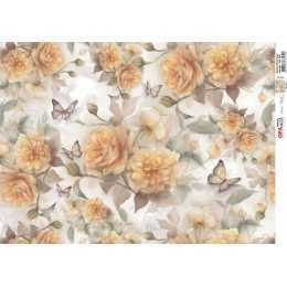 Papel para Decoupage-Opapel 2392 - Estampa Flores Rosas Amarelas