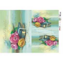 Papel para Decoupage-Opapel 2393 - Flores e Livros