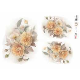 Papel para Decoupage-Opapel 2398 - Flor Rosas Amarelas