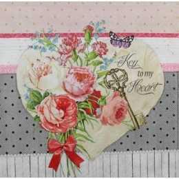 Coração com Flores no Fundo Estampado (52)
