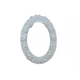 982 - Moldura com Espelho - Oval com Arabesco - 11cm x 14,5cm