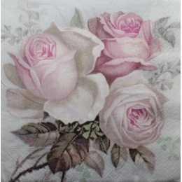 Guardanapo Arranjo com 3 Rosas na Cor Rosa no Fundo Branco F1036