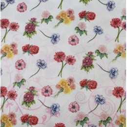 Guardanapo Pequenas Flores Coloridas no Fundo Branco (991)