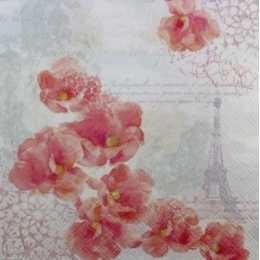 Guardanapo Orquídeas Cor de Rosa e Torre Eiffel ao Fundo (992)