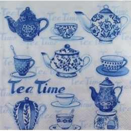 Guardanapo Xícaras e Chaleiras Azuis - Tea Time (658)