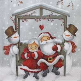 Guardanapo Mamãe e Papai Noel com Bonecos de Neve (460)