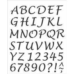 Stencil de Acetato OPA 20x25cm - OPA 2508 - Alfabeto Manuscrito