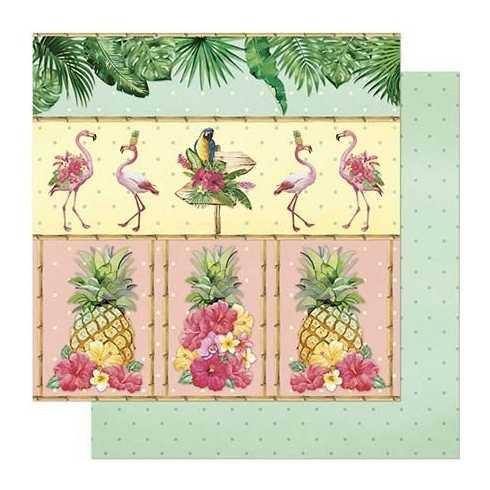 Folha para Scrapbook Dupla Face - SD805-Flamingos e Abacaxi
