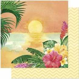 Folha para Scrapbook Dupla Face - SD807-Praia e Flores