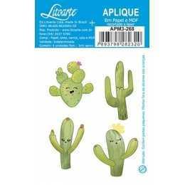 Aplique em Papel e MDF - APM3 - 268 - Cactus - 4 unidades