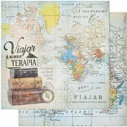 Folha para Scrapbook Dupla Face - SD840-Mapa Viajar