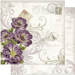 Folha para Scrapbook Dupla Face - SD918-Vintage Flores Liláses