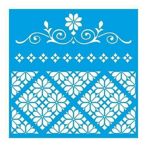 Stencil de Acetato Litoarte 20x20 - STXX 078 - Arabesco e Azulejo