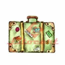 Aplique em Papel e MDF - LMAM079 - Mala de Viagem