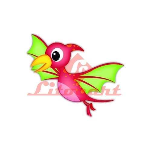 Aplique em Papel e MDF - LMAM074 - Dinossauro Baby