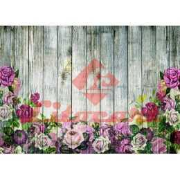 Papel para Decoupage LD902 - Rosas no Tabuado Cinza