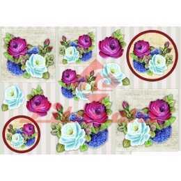 Papel para Decoupage LD916 - Rosas Diversas Coloridas