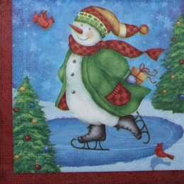 Guardanapo Boneco de Neve Patinando  (274)