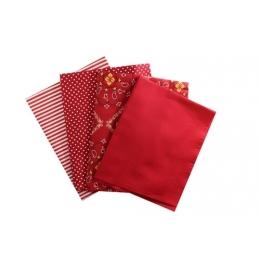 Kit de Tecido - 40 - Vermelho e Branco - Liso/Arabesco/Bolinhas/Listras  (4 unid)