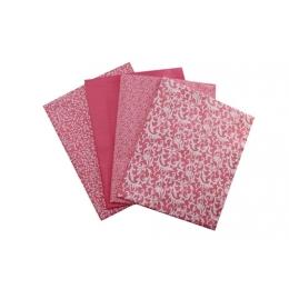 Kit de Tecido - 14 - Rosa e Branco - Arabesco/Flores/Liso/Estamparia  (4 unid)