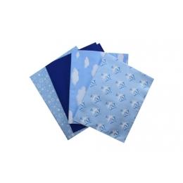 Kit de Tecido -  07 - Azul e Branco - Cavalinhos/Nuvens/Liso/Estrelinhas  (4 unid)