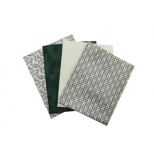 Kit de Tecido - 13 - Verde e Marfim - Flolhas/Poeirinha/Liso/Estamparia  (4 unid)