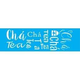 Stencil de Acetato Litocart 8,5x29,5cm - LS047 - Chá - Tea