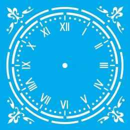 Stencil de Acetato Litocart 20x20cm - LSQ141 - Relógio com Apliques Flor de Lis