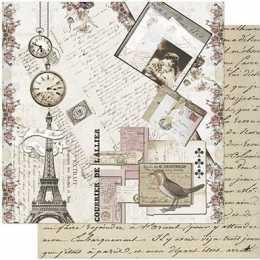 Folha para Scrapbook Dupla Face - SD971-Torre,  Cartas Relógio e Passarinho