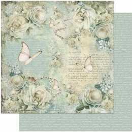 Folha para Scrapbook Dupla Face - SD954-Rosas Brancas, Escritos, Fundo Verde