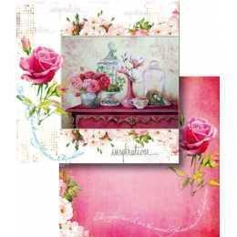 Folha para Scrapbook Dupla Face - LSCD432 - Arranjo de Flores Vidro e Gaiola