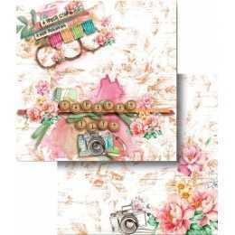 Folha para Scrapbook Dupla Face - LSCD430 - Flores e Máquina Fotografica