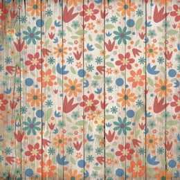 Folha para Scrapbook Simples LSCE051 - Flores Coloridas no Pallet