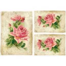 papel para Decoupage LD943 - Rosas e Escritos