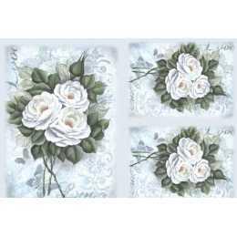 papel para Decoupage LD937 - Rosas Brancas