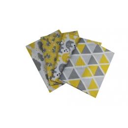 Kit de Tecido - 30 - Amarelo/Cinza  -  (4 unid)