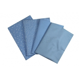 Kit de Tecido - 27 - Azul Claro e Branco -   (4 unid)