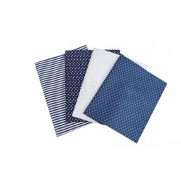 Kit de Tecido - 24 - Azul Escuro e Branco - Bolinha/Listras  (4 unid)