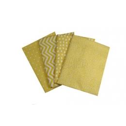 Kit de Tecido - 22 - Amarelo/Branco - Bolinha/Coração/Arabesco  (4 unid)