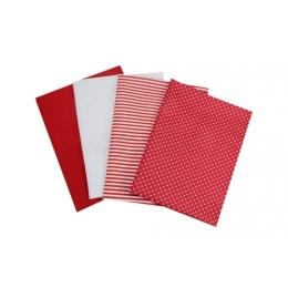 Kit de Tecido - 21 -Vermelho/Branco - Bolinha/Listra/Liso  (4 unid)