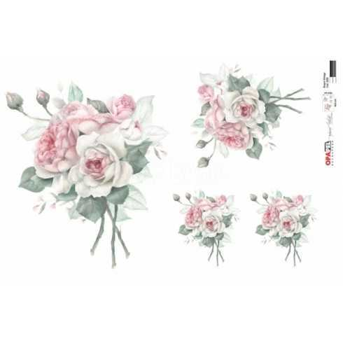 Papel para Decoupage-Opapel 2559 -Buquê Rosa Vintage