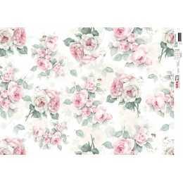 Papel para Decoupage-Opapel 2563 -Estampa Flores Rosas Vintage