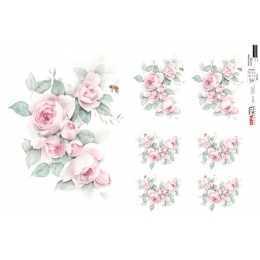 Papel para Decoupage-Opapel 2564 -Flor Rosa Vintage