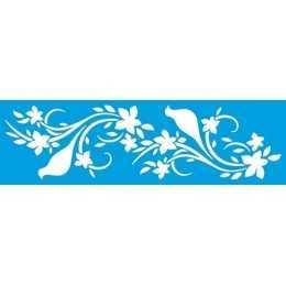 Stencil de Acetato Litoarte 8,4x28,6cm - STE354-Ramo de Flores com Pássaros